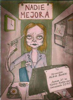"""""""Nadie Mejora"""". De Andrés Binetti. Jueves 21 hs. en Anfitrión Teatro. Humor: 7 días en un centro de atención telefónica al suicida."""