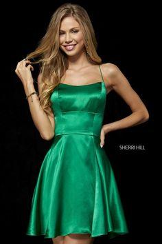 bdcc3ba18f4 2018 Emerald Open Back Sherri Hill Short Satin Homecoming Dresses 52156