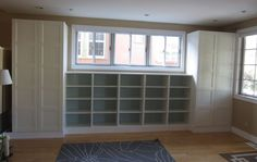 bookcases in livingroom | IKEA Hackers: Living room built-in bookshelves and closets using BESTA ... closet designs, living rooms, custom closets, offic, shelves, live room, basement storage, ikea, craft rooms
