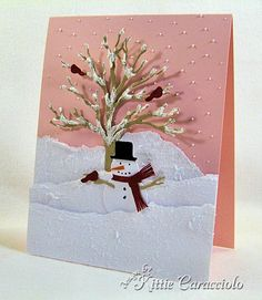 snow scene card...pink sky!!...punch art snowman among the torn paper snow layers and in front of the die cut tree...
