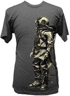 Exploration Men's Tee Vintage Retro Underwater Sea Diver Suit http://www.inkedboutique.com