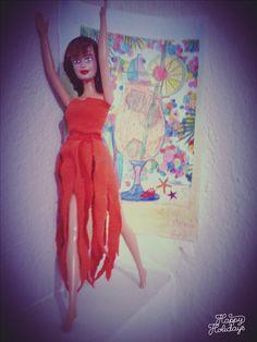 diy barbie doll orange outfit ~sewing pattern~