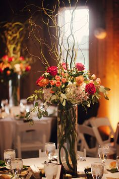 Stunning tall centerpieces for reception tables