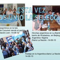 ESTA VEZ, NOS UNIÓ LA SELECCIÓN, Grupo de argentinos en la Isla Caribeña de Cozumel viendo el partido Diario La Nación.com -14-06-10 Hinchas argentinos en L. http://slidehot.com/resources/festejos-argentina-nigeria.34771/