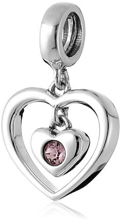 Chamilia Sterling Silver and Swarovski Crystal Radiant Heart Bead Charm * Be sure to check out this helpful article. #Jewelry