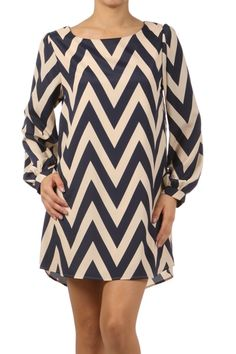 Navy Chevron Stripe Tunic Dress