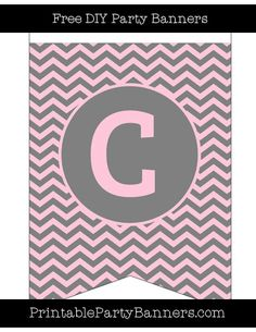 Pink and Grey Swallowtail Chevron Capital Letter C