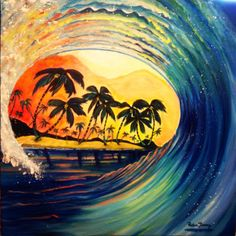 Waves with Palm Trees