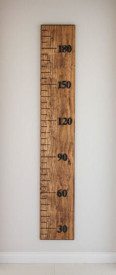 Growth Chart wooden metric ruler walnut stain range by BanksiaLane, $100.00