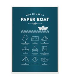 """Poster in A3 mit Faltanleitung für Papierboote / artprint """"how to make a paper boat"""", modern living, typo by beautees via DaWanda.com"""