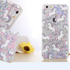 I6 Telefon Fällen Cartoon Unicorn Pferd dynamische Paillette Glitter Stars Wasser Flüssigkeit Fall für iPhone 6 6 s 4,7 Zoll Kunststoff Abdeckungen