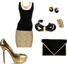 """Gold and black outfit"" by nereabruin on Polyvore"