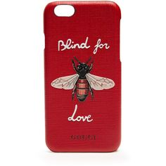 'Blind for Love' leather iPhone 6 case Gucci MATCHESFASHION.COM (7.640 BRL) ❤ liked on Polyvore featuring bags, handbags, gucci handbags, gucci, real leather purses, genuine leather purse and red bag