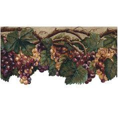 grape wallpaper borders   Wallpaper Border Tuscan Grape Leaves Purple Grapes