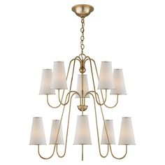 Visual Comfort ARN5052G-L AERIN Montreuil Chandelier in Gild with Linen Shades | ShopVisualComfortLights.com
