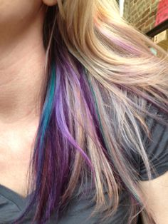 Teal by tressa and purple by pravana  Highlighted with blonde icing from Redken