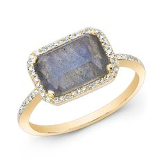 """14KT Yellow Gold Labradorite Diamond Chic Ring<br /> Rectangle measures approximately 1/2"""" x 3/8"""""""