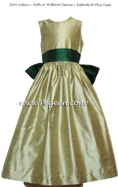 c3ed9a47206 Silk flower girl dresses in Sage with and Emerald Sash