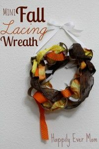 Mini Fall Lacing Wreath: TP Rolls and Ribbons from Happily. Ever. Mom
