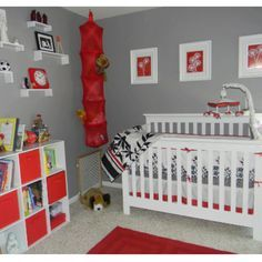 Red and gray. Baby room. Perfect