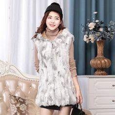 GMANCL Real Rabbit Fur Vest With Hood Women Rabbit Fur Coat High Quality Genuine Rabbit Fur Vest Women