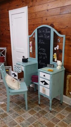 Antique vanity repurposed! www.vintagecharmdecor.com