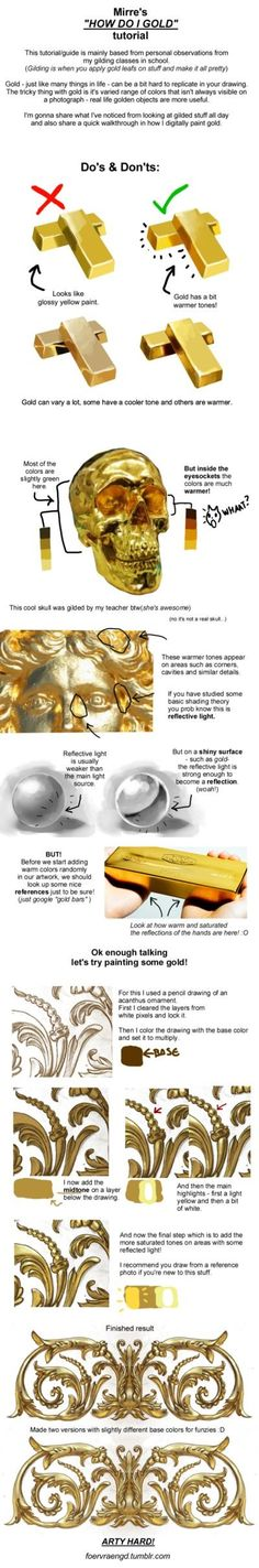 A tutorial on how to use colour and shading in order to create realistic and vibrant looking gold in a drawing. (As drawn by Foervaengd on DeviantArt. Digital Painting Tutorials, Digital Art Tutorial, Painting Tools, Art Tutorials, Drawing Tutorials, Digital Paintings, Art Paintings, Drawing Techniques, Drawing Tips