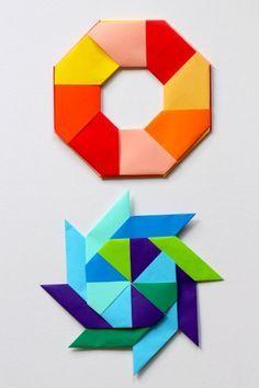 How to make paper transforming ninja stars. A fun math art origami project.