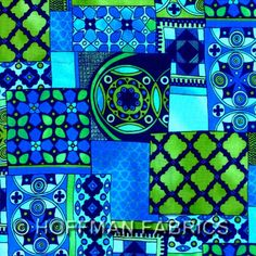 Cotton Quilt Fabric Moonlit Garden Patchwork Turquiose Teal Blue - product images  of