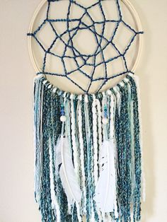 Blue and white dream catcher !