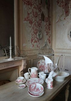 Red Toile Dishes..........LOVE!!!!!!!!