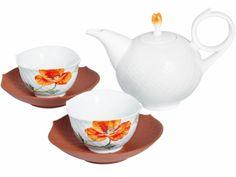 "Tea set ""Wild Poppy"" - the saucers are from Böttger stoneware -. Meissen"