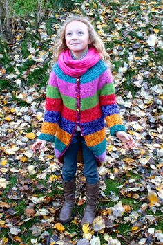 Girls cardigan chunky knit-wear colorful striped wool sweater knitwear hand made hand knitted outwear. It has longer sleeves that are folded in the
