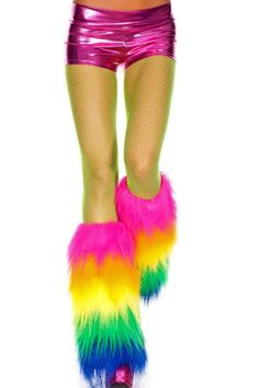 These fun & fabulous rainbow striped leg warmers are sure to add some funk & flare to your club wear. Made from soft & plush faux fur, these are fully lined to prevent any itchiness or discomfort. Gre