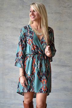 Deep V neck pattern hi low Everly dress with flowy sleeves