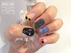 """77 Likes, 6 Comments - NAIL LAB (@nail_lab_toronto) on Instagram: """"This nail design was inspired from a cool clothing brand @alexsteele 패턴, 매트하고 톤 다운된 컬러들, 린넨! 내가…"""""""