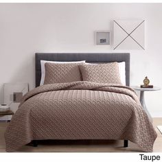 Taupe Full/Queen Nina Embossed 100% Polyester 3-piece Quilt Set Light Soft Feel #VCNY #Contemporary