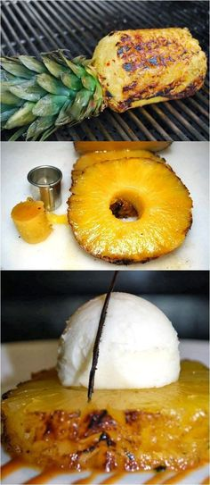 Grilled Pineapple with Vanilla Bean Ice Cream - grill the pineapple unsliced