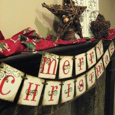 Christmas Decoration MERRY CHRISTMAS Banner Garland. $22.00, via Etsy.