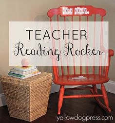Personalized reading rocking chair for a teacher.