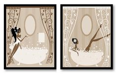 Brown Tan Beige Bathroom Decor Bathroom Print Bathroom Art Prints Wall Decor