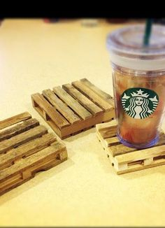 mini pallet coasters with popsicle sticks