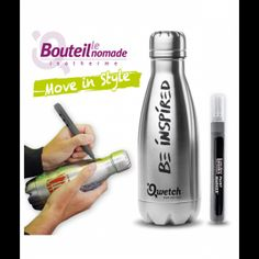 Bouteille isotherme inox 300 ml & marqueur Noir Carbone