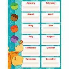 """Moose & Friends Birthday Chart - Never forget a student's birthday with this cheery and charming Moose & Friends Birthday chartlet. Easy to read and personalize, this is a perfect addition to any classroom! Includes one chart measuring 17"""" x 22""""."""