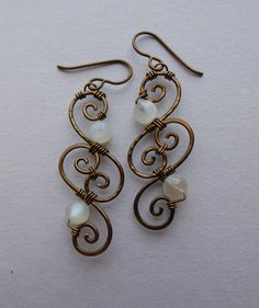 Brass Wire Spiral Earrings -- Moonstone and Antique Brass Swirl Wire Wrapped Filigree Earrings -- Elegant Victorian