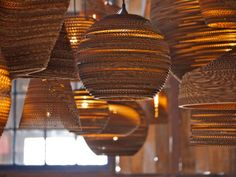 light fixtures made with corrugated cardboard by graypants