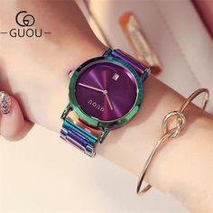 GUOU часы Для женщин Мода красочные Нержавеющаясталь женские часы Роскошный изысканный Женские часы Reloj Mujer Relogio feminino купить на AliExpress