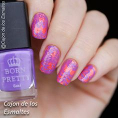 Orange and purple watermarble nail art - Halloween colors