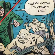 I have no idea what the hell this is, but I like it & am sticking it on my music board! Comic Book Panels, Comic Book Covers, Comic Books, Comic Frame, Comic Pictures, Vintage Vinyl Records, Book Images, Pulp Art, Vintage Comics