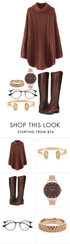"""""""Wooly and Warm"""" by preciousabebe ❤ liked on Polyvore featuring WithChic, Kendra Scott, Frye, Olivia Burton, Ray-Ban and Vitaly"""